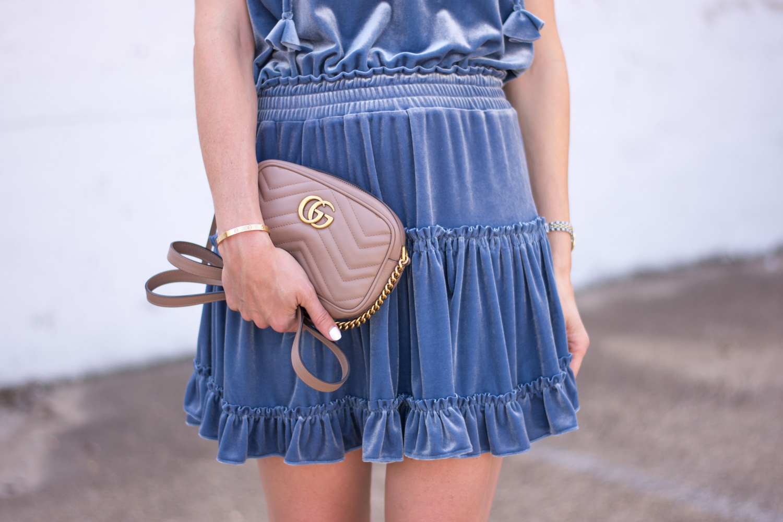 blue velvet dress gucci camera bag in nude