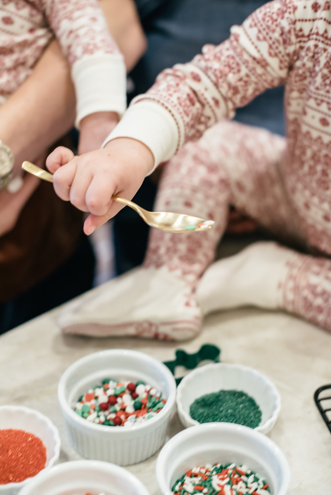 making Christmas cookies with a baby and toddler