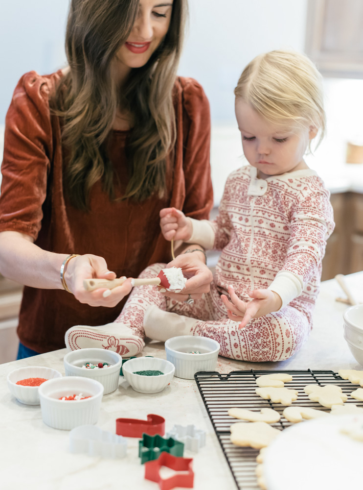 making Christmas cookies with a toddler