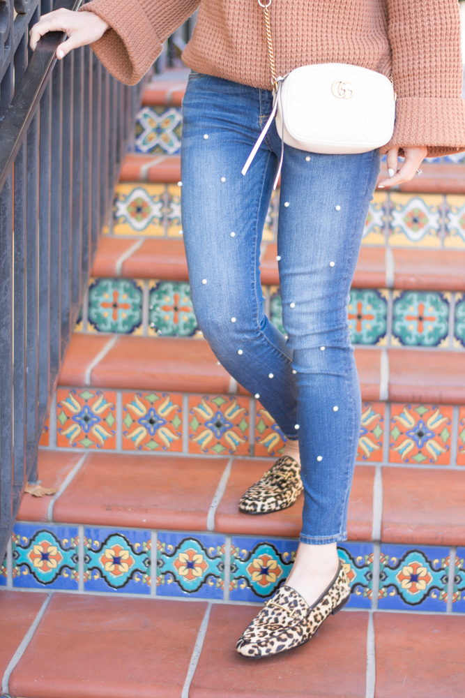 pearl embellished jeans leopard loafers