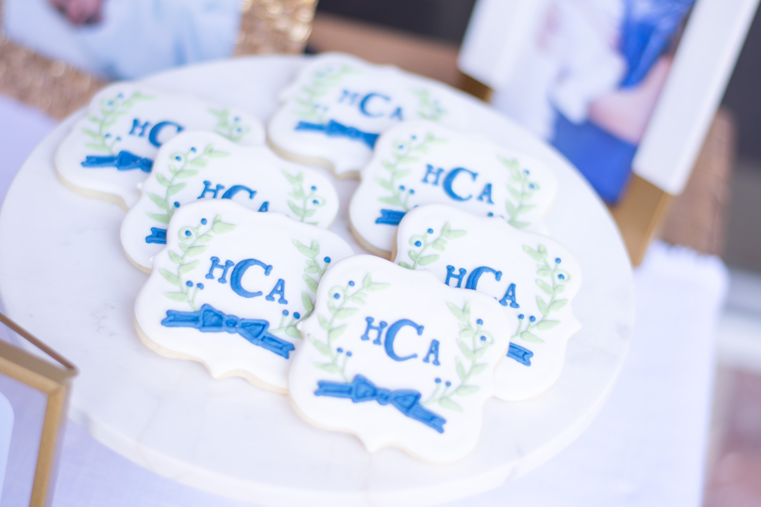 monogrammed cookies at henry's sip and see