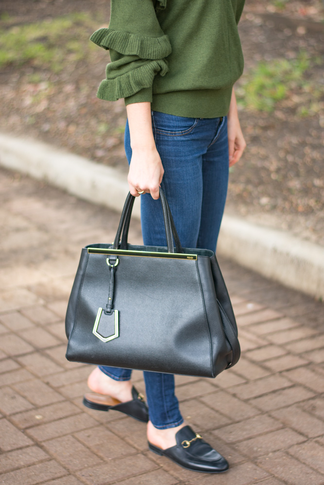 ruffle sleeve sweater jeans black handbag
