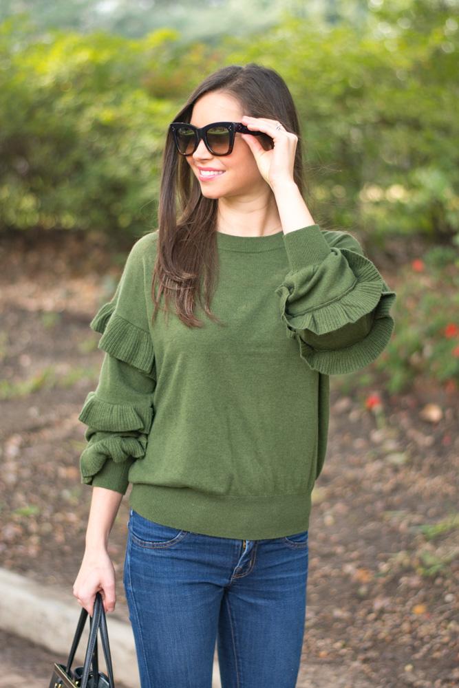 green ruffle sleeve sweater