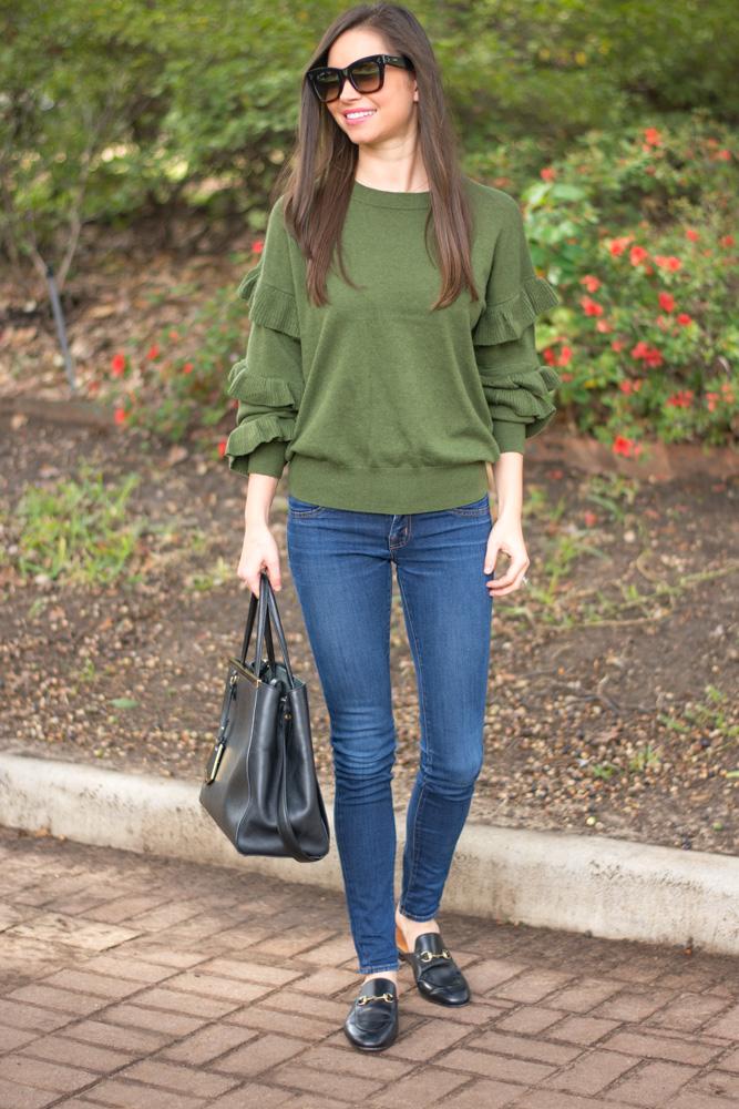 ruflfe sleeve sweater