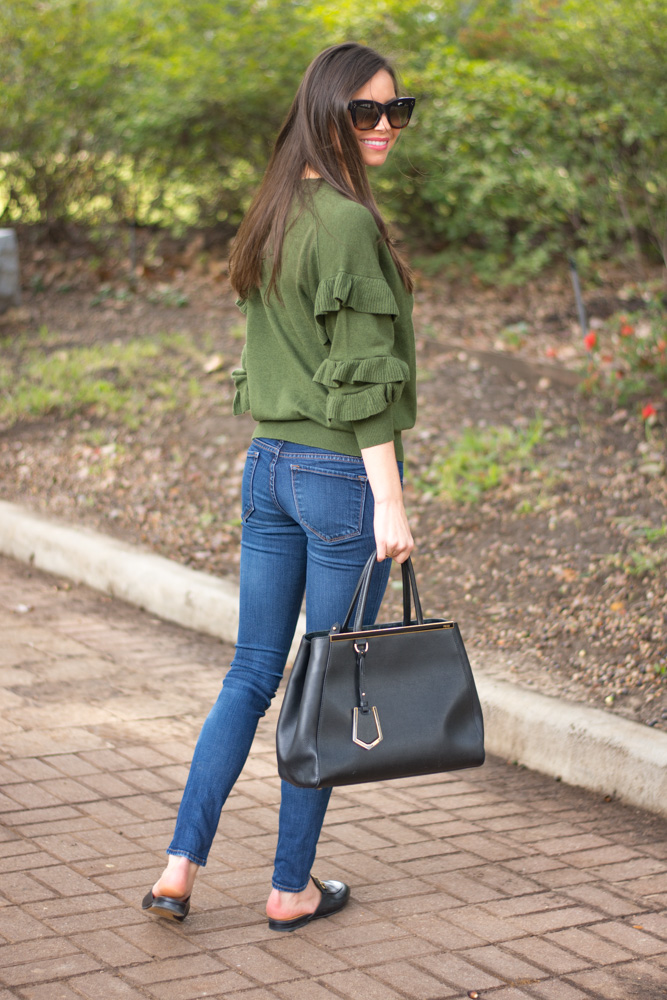 ruffle sleeve sweater jeans black handbag