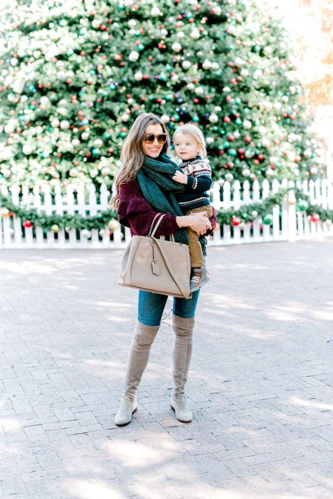 mom with toddler in Christmas sweater