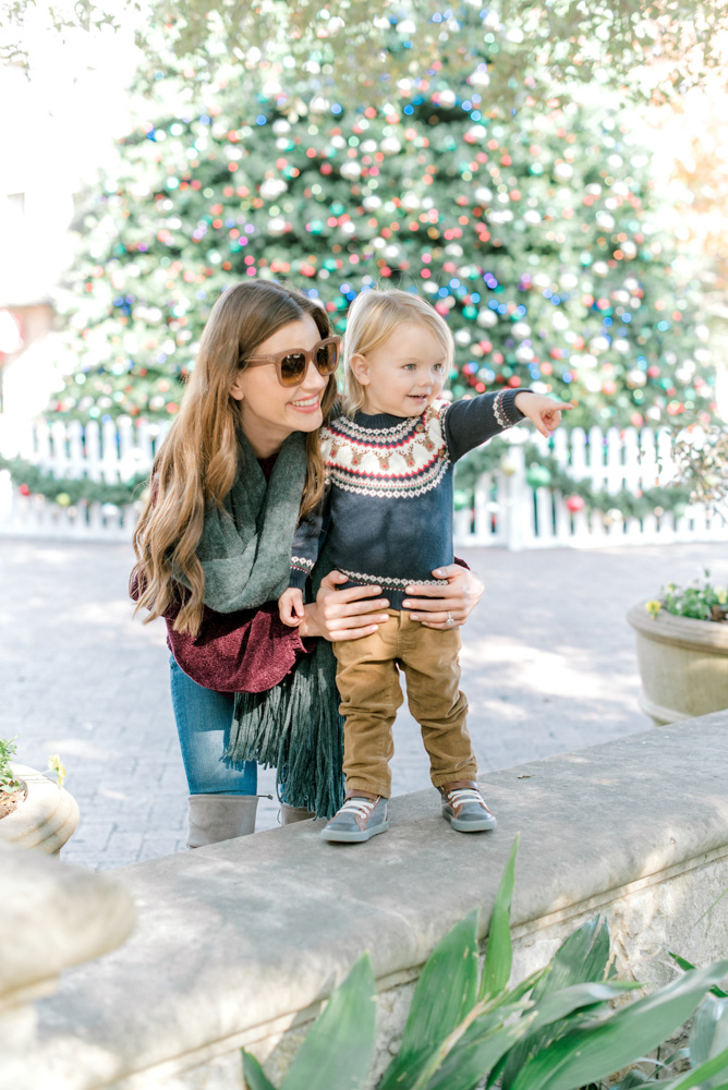 toddler in Christmas sweater