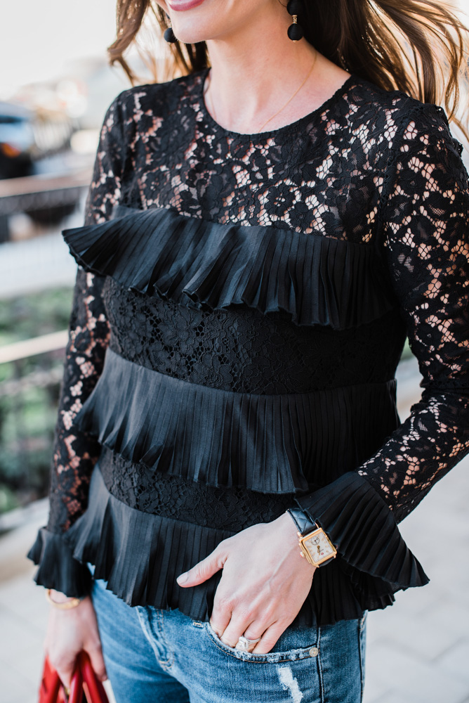 black lace pleated top