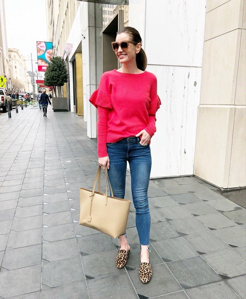 red ruffle sleeve sweater