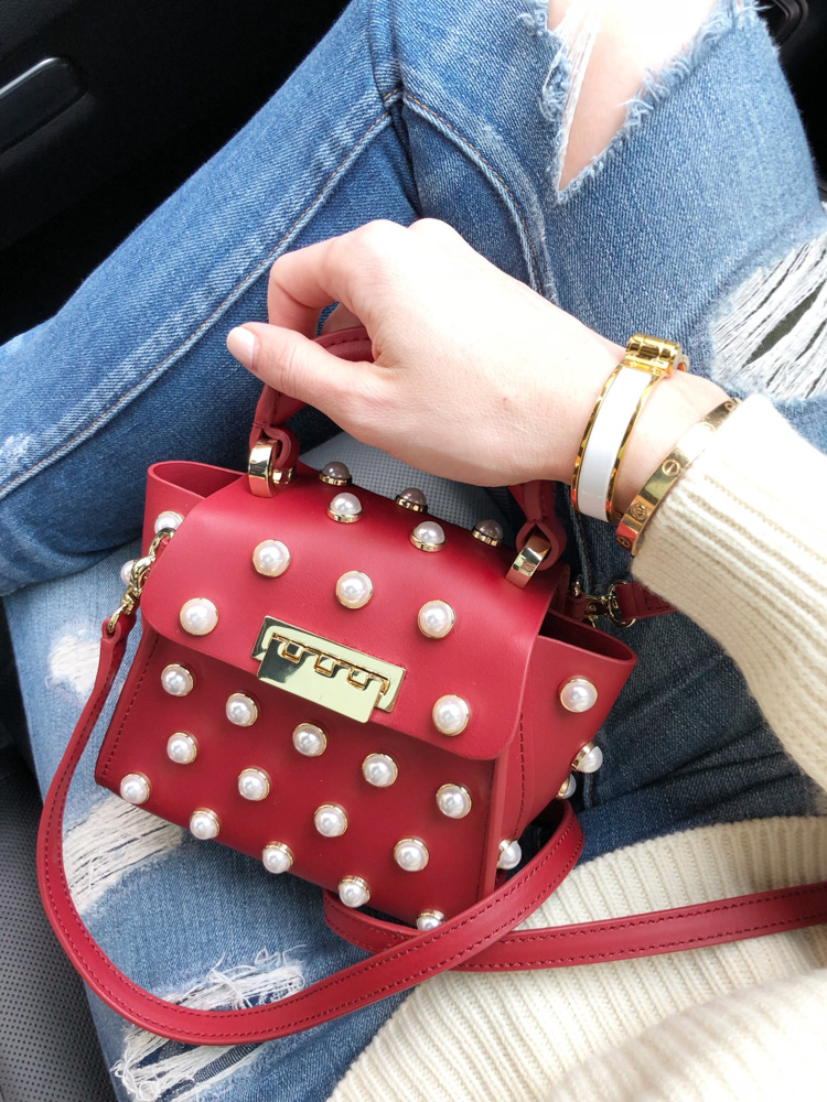 pearl embellished mini handbag