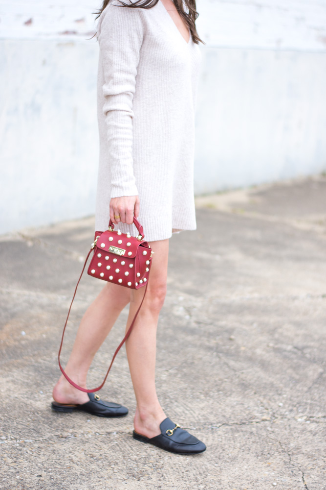 sweater dress red mini bag
