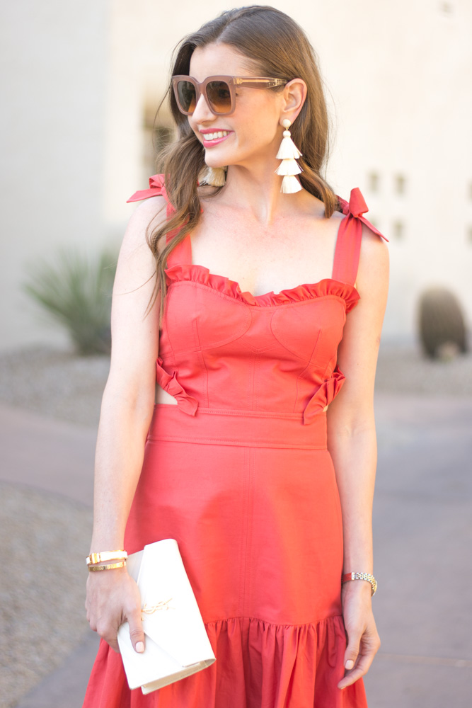 red ruffle midi dress