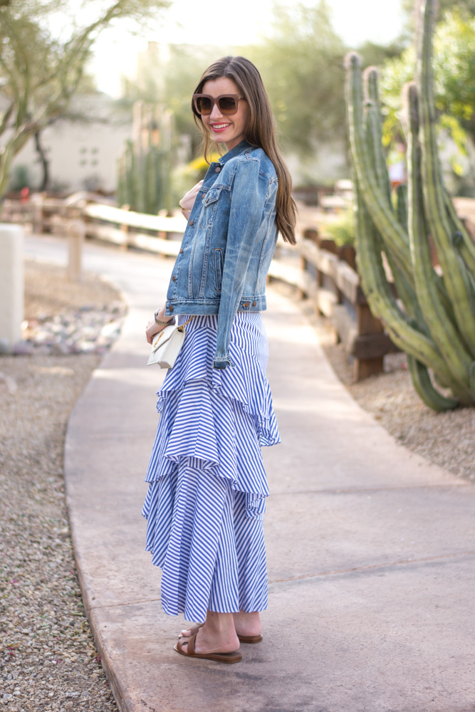 tiered ruffle maxi skirt