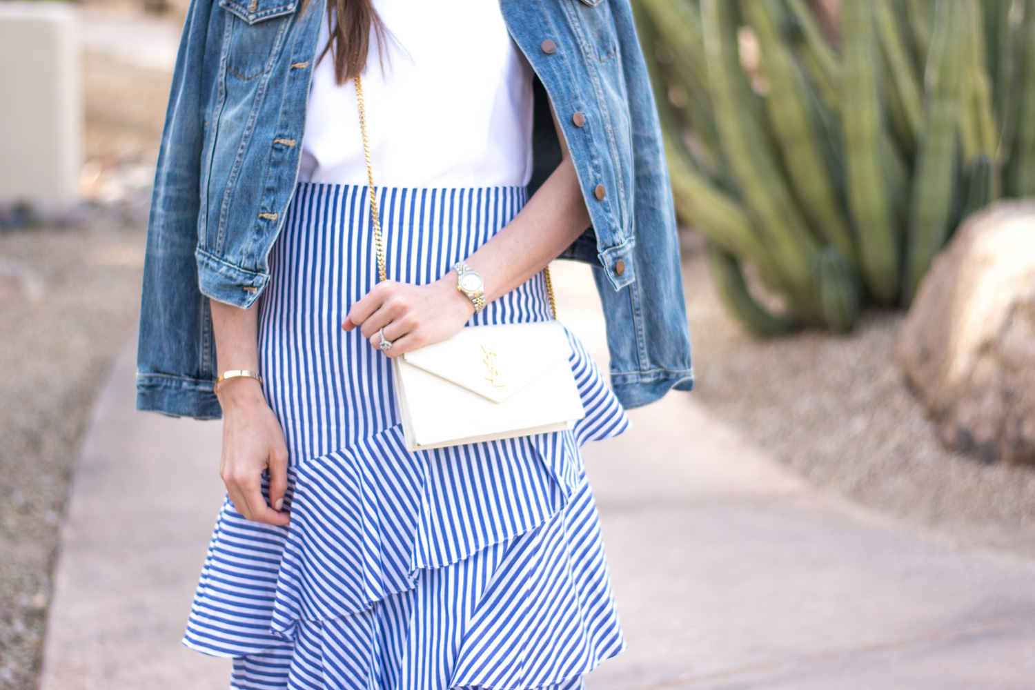 striped ksirt white crossbody bag