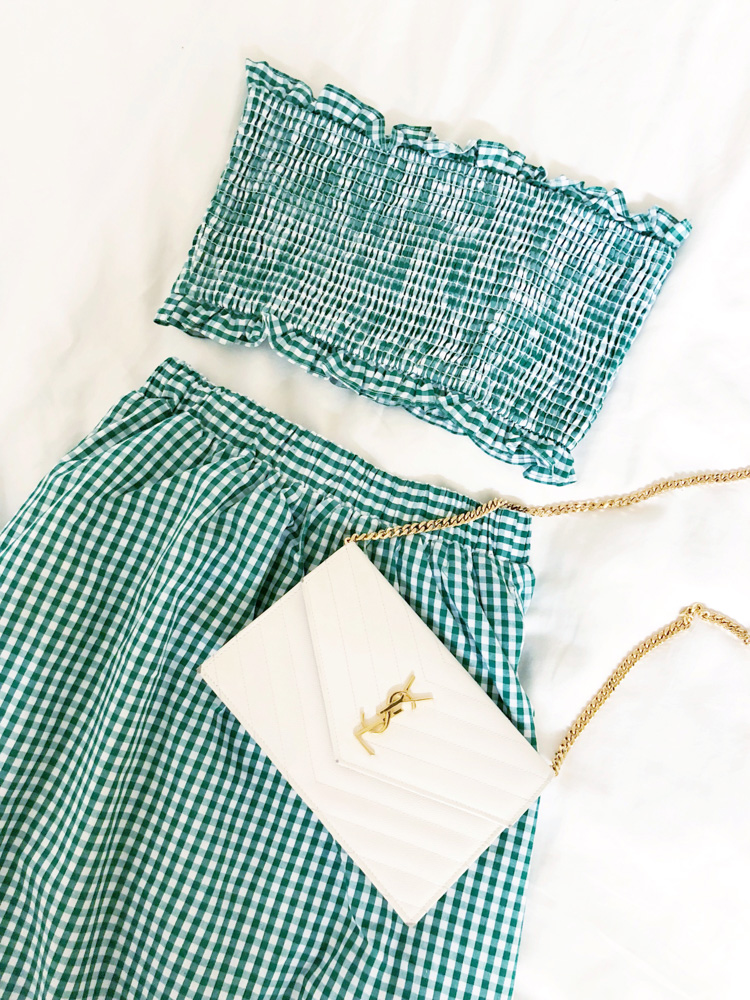 green gingham two piece set