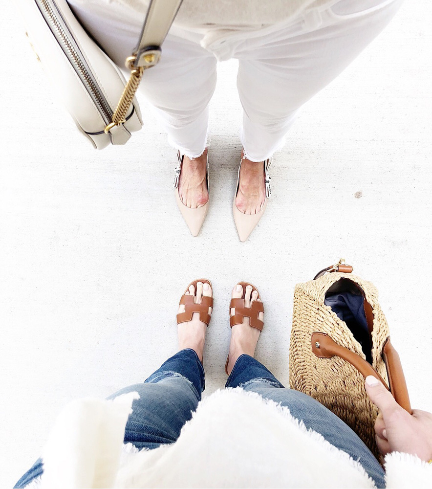 brown hermes sandals nude dior flats