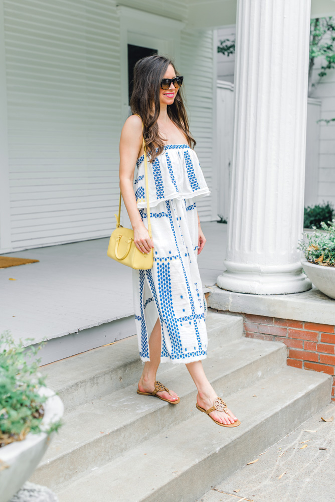 blue and white maxi dress yellow handbag