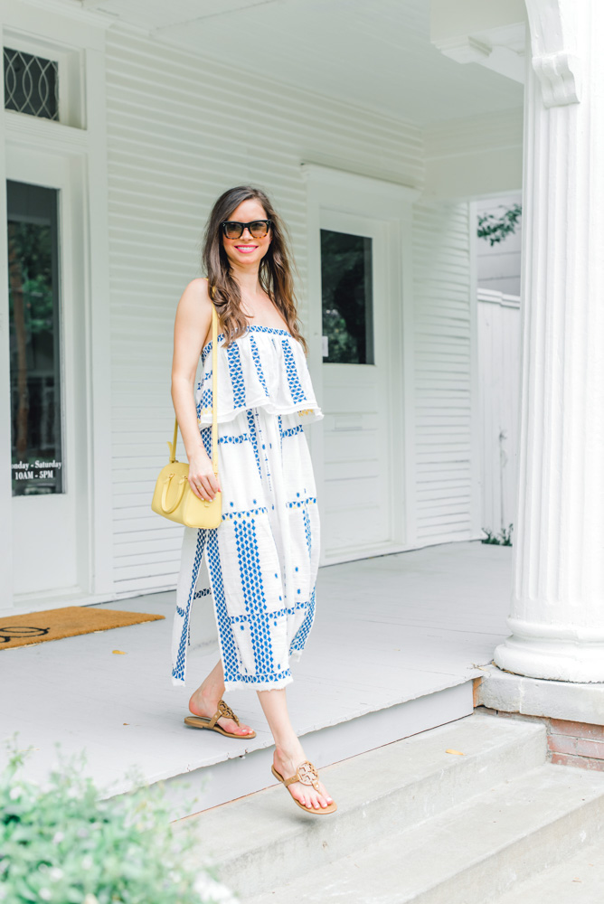 blue white maxi dress