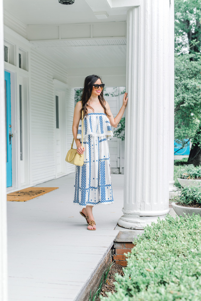 blue and white maxi dress yeallo crossbody bag