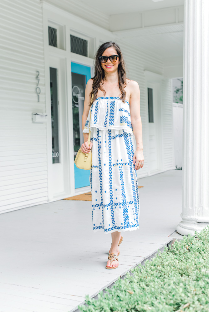 strapless blue and white maxi dress