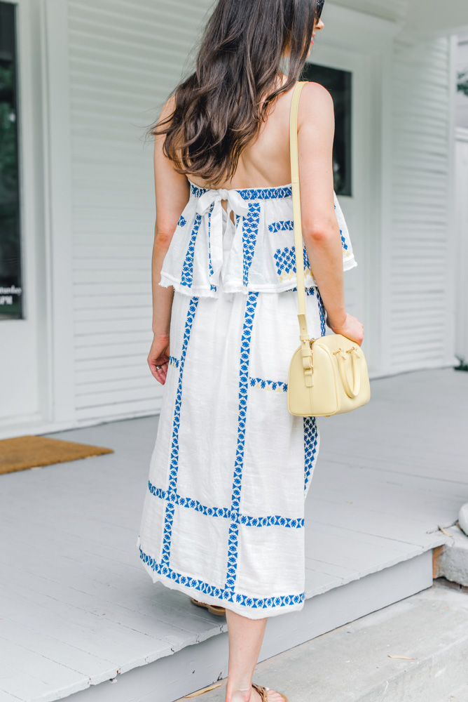 back detail blue and white maxi dress
