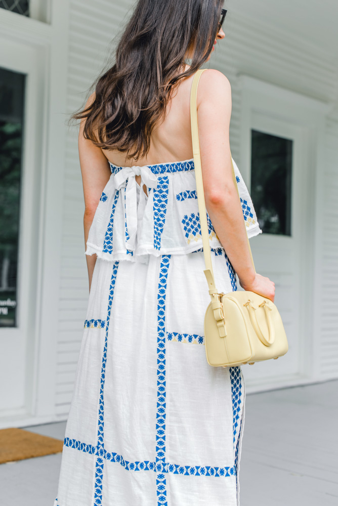 tie back on blue and white maxi dress