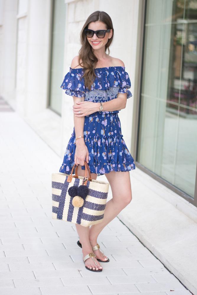 floral print dress straw tote bag
