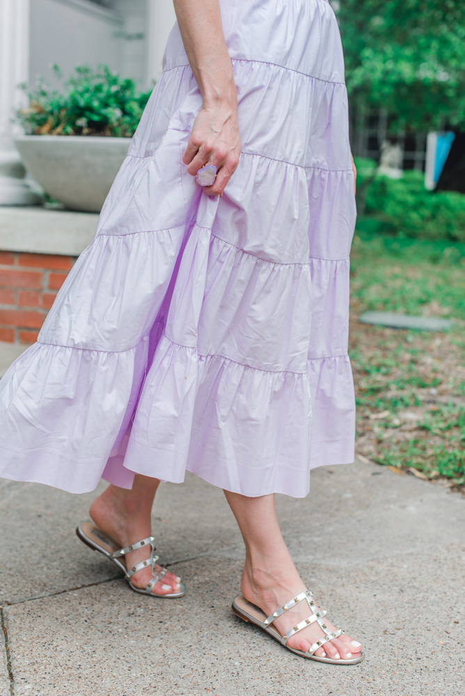 lavender tiered maxi skirt