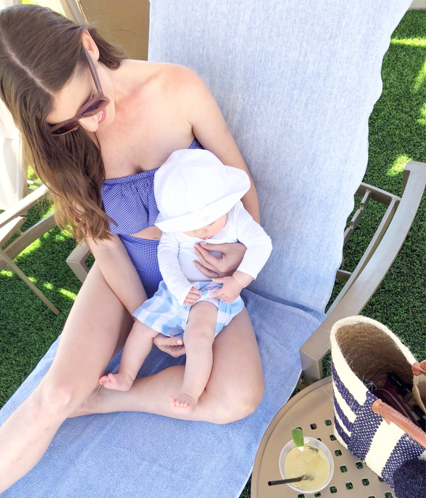 striped toddler swimwear with mom
