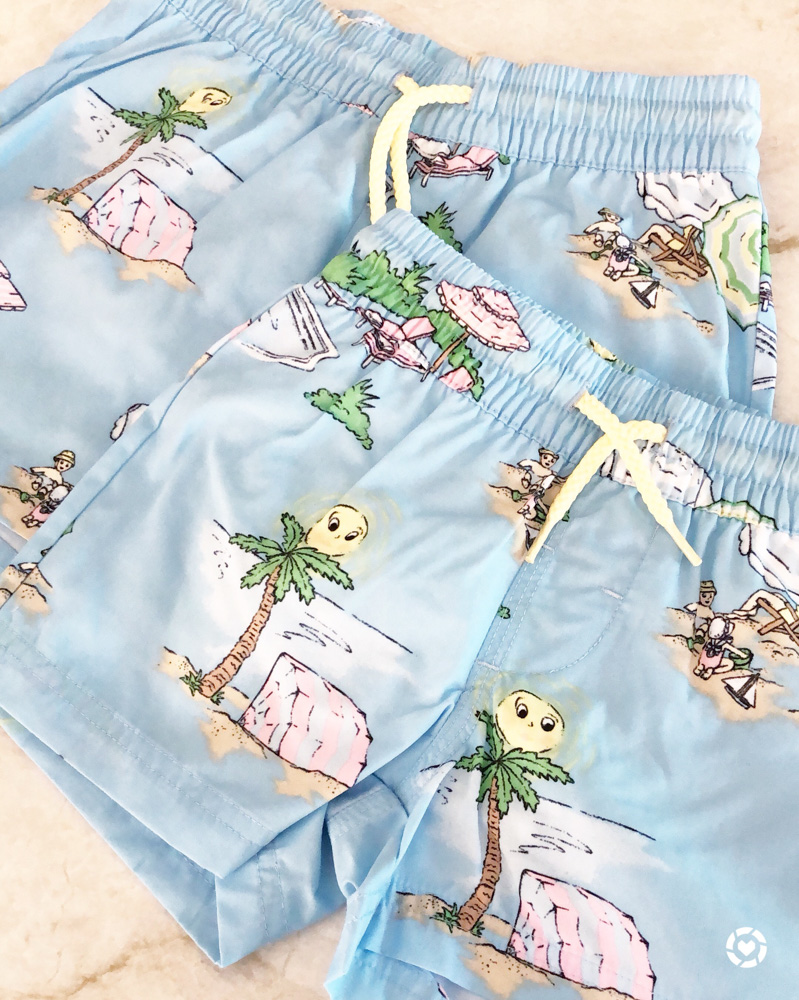 hawaiian print toddler swim trunks