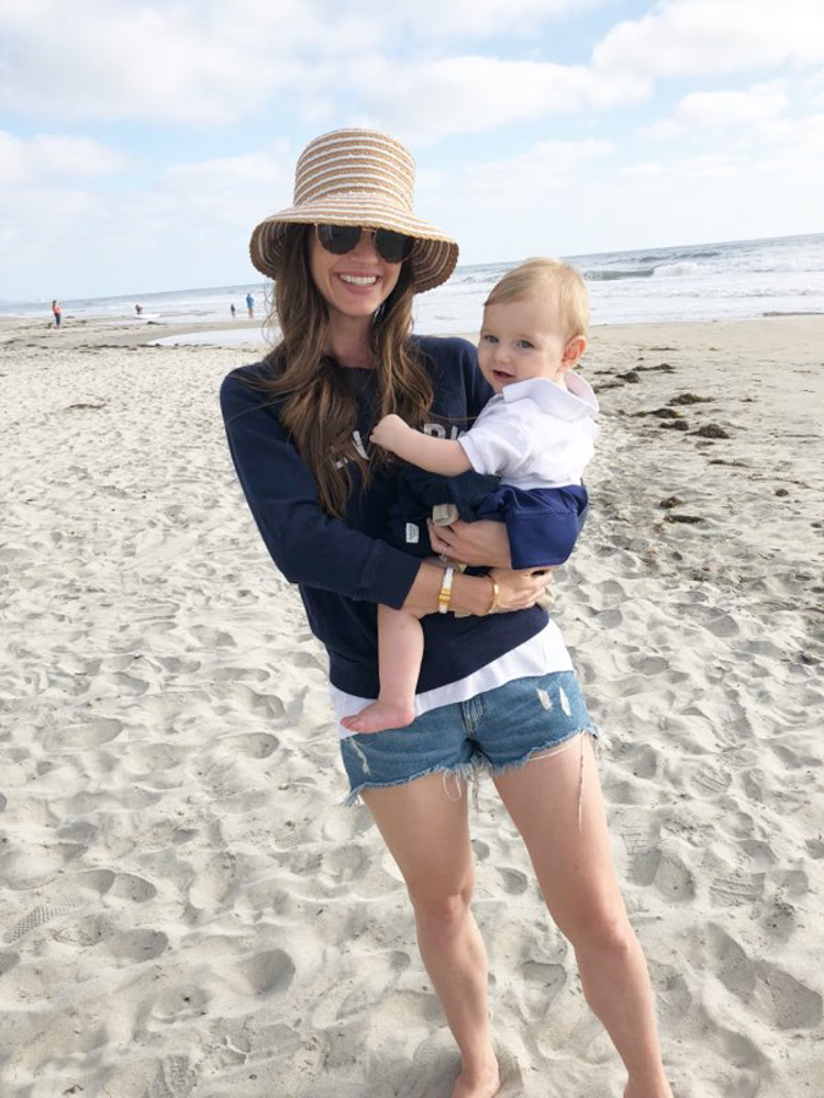 mom and baby on the del mar beach