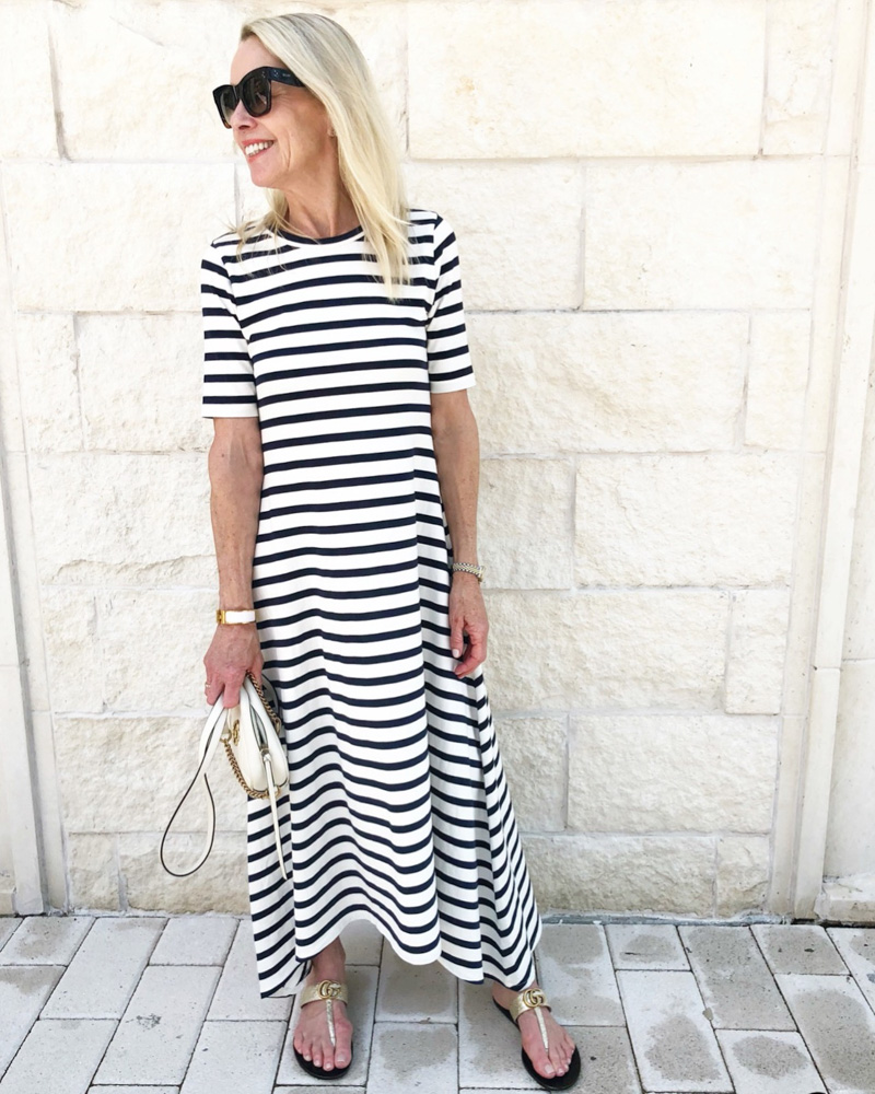june in review striped maxi dress