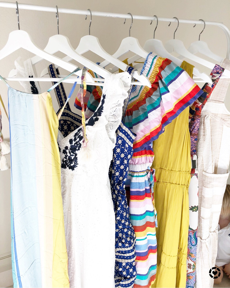 clothes rack of dresses
