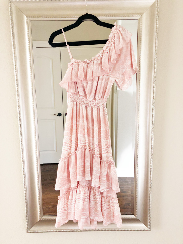 pink one shoulder maxi dress