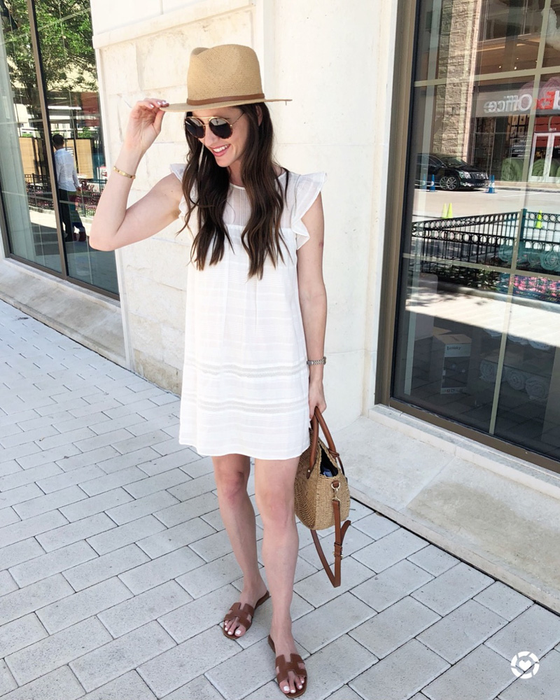 white dress straw hat