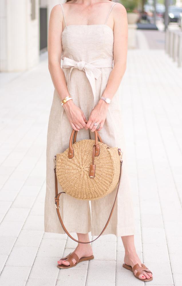 circle straw handbag