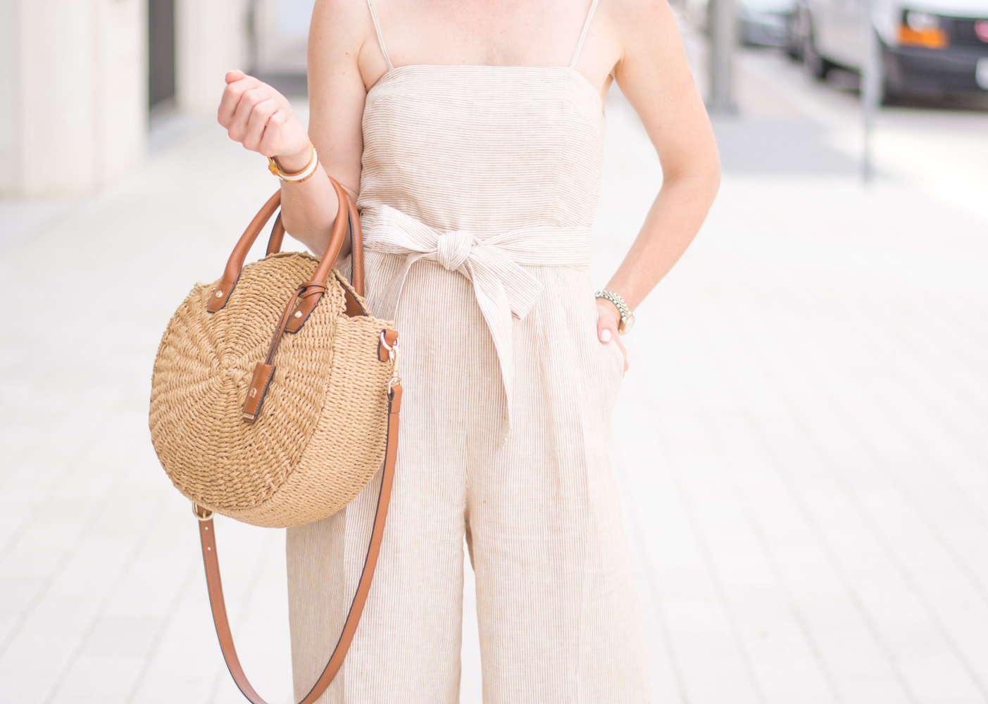 striped jumpsuit circle straw bag
