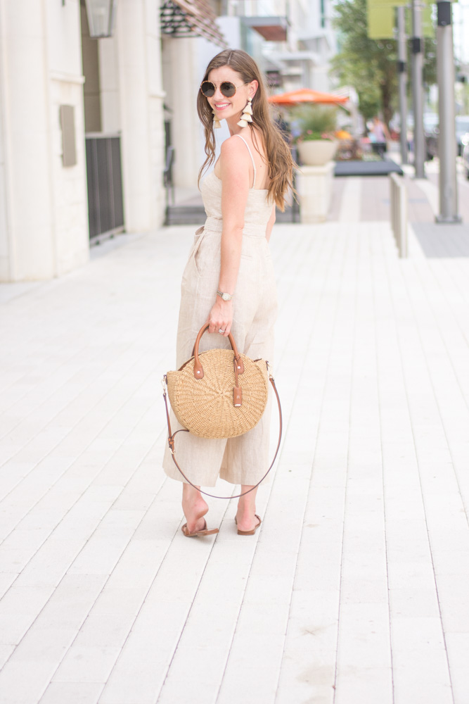 striped jumpsuit straw handbag