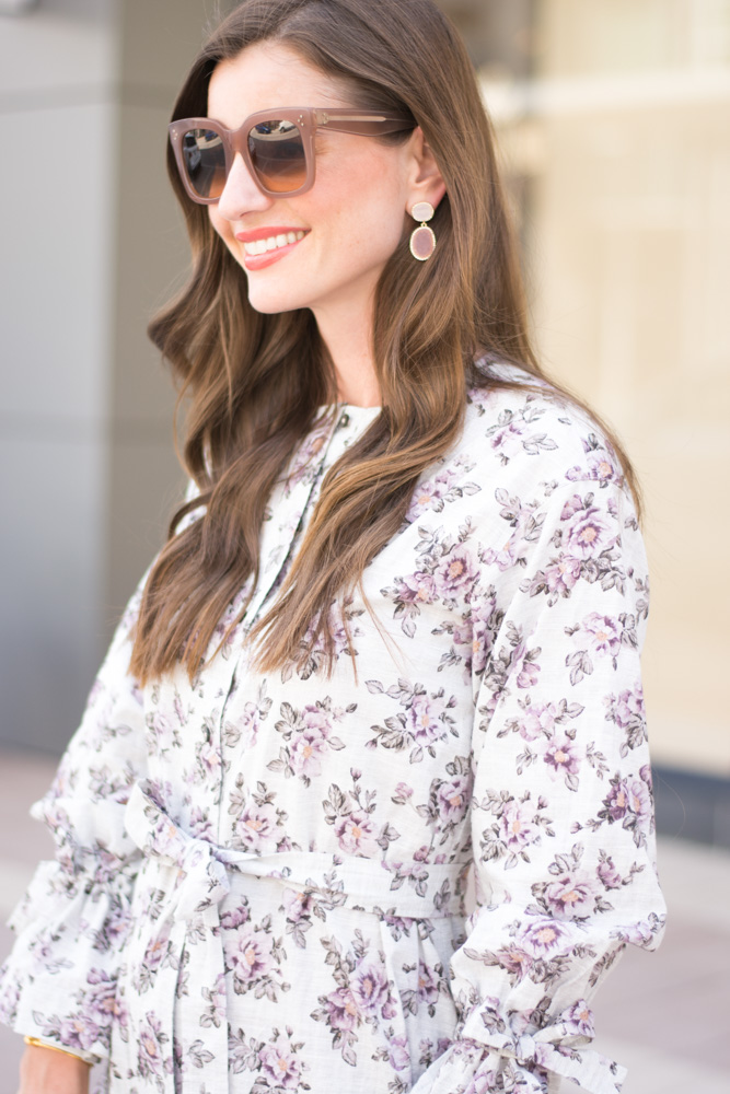 fall floral dress statement earrings