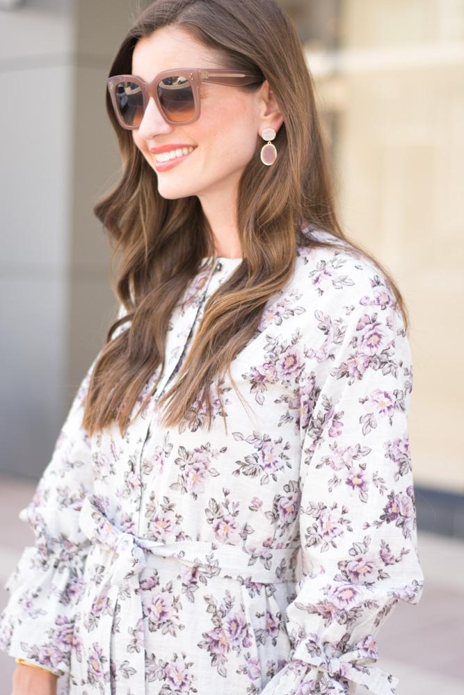 fall floral dress statement earrings