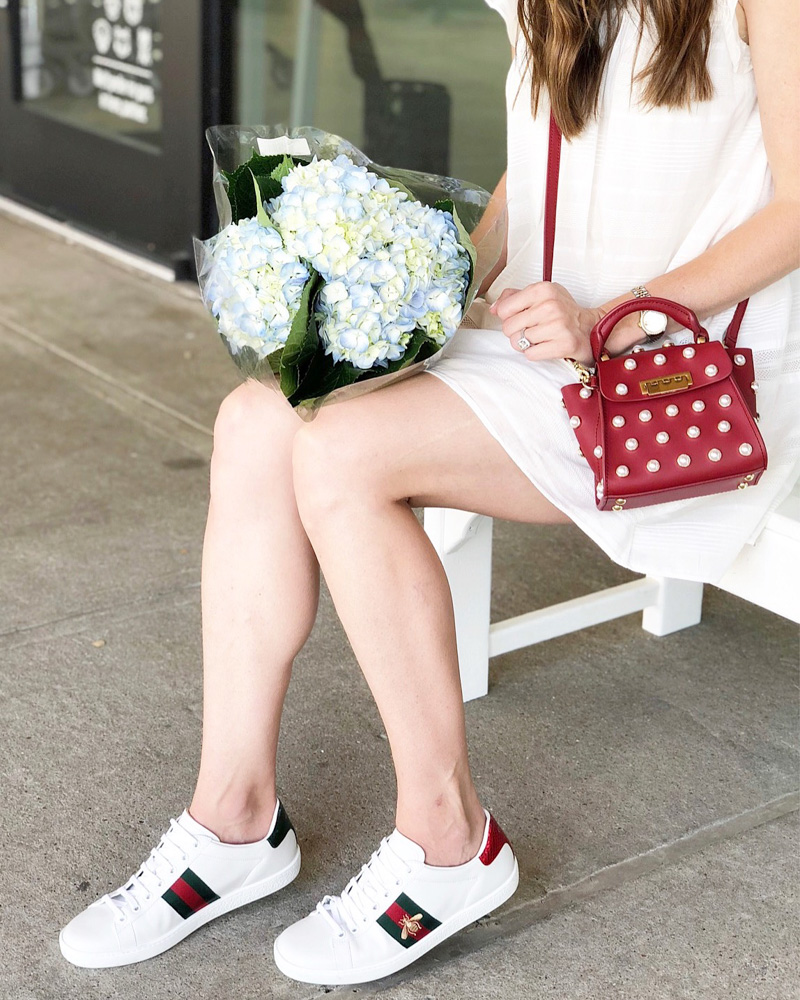 gucci sneakers red pearl embellished crossbody bag