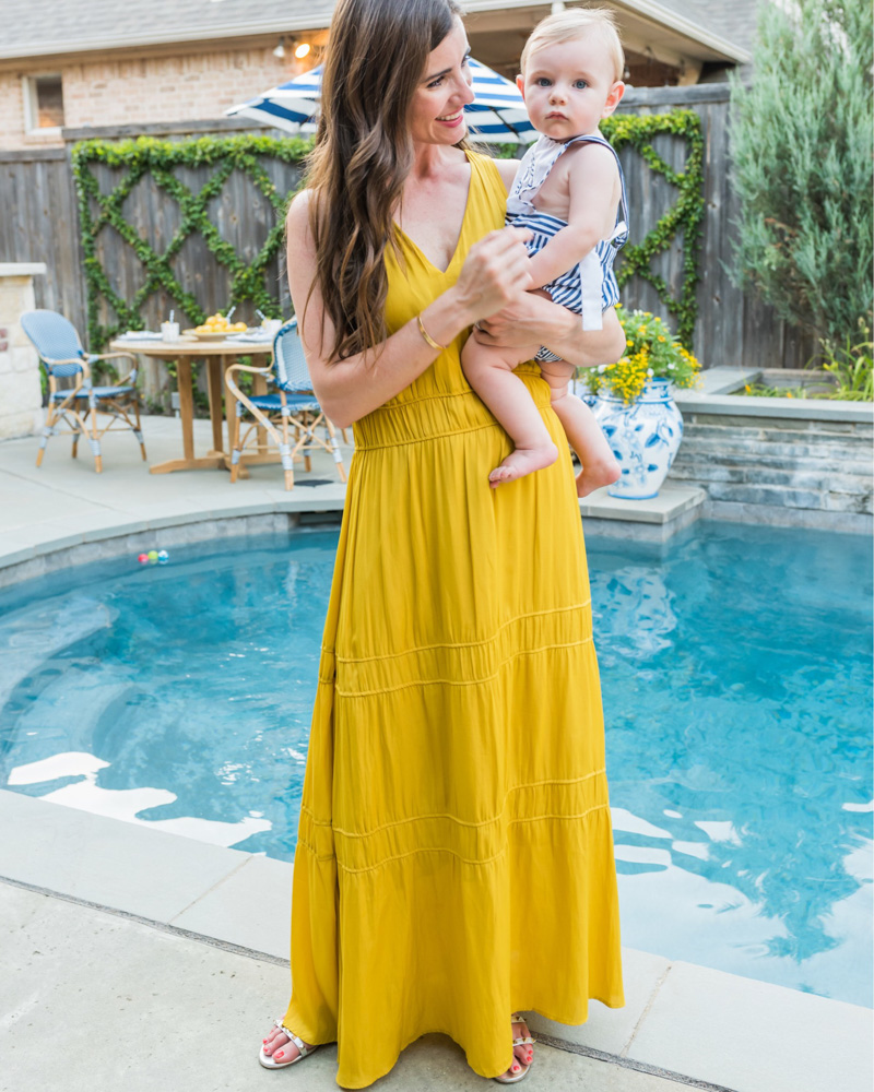 mom and baby yellow maxi poolside