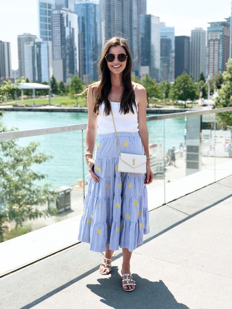 white tank pineapple print maxi skirt
