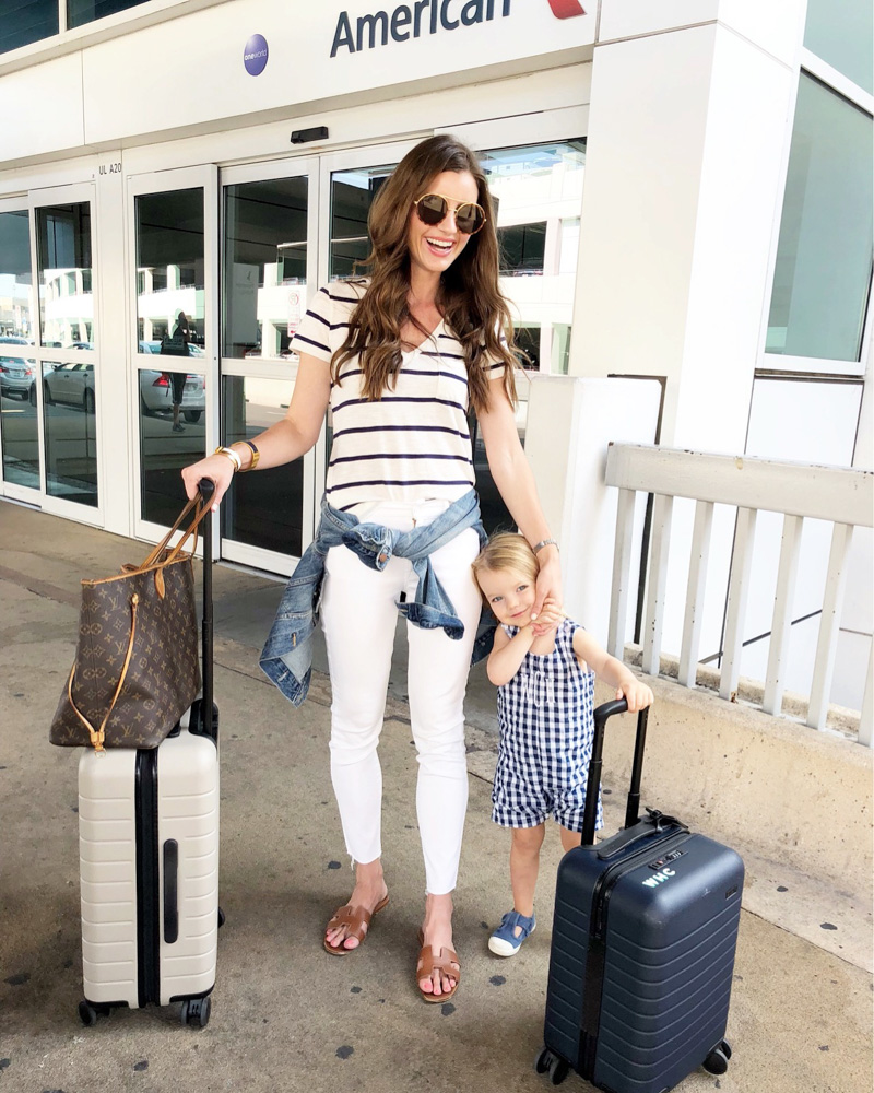mom and toddler at airport