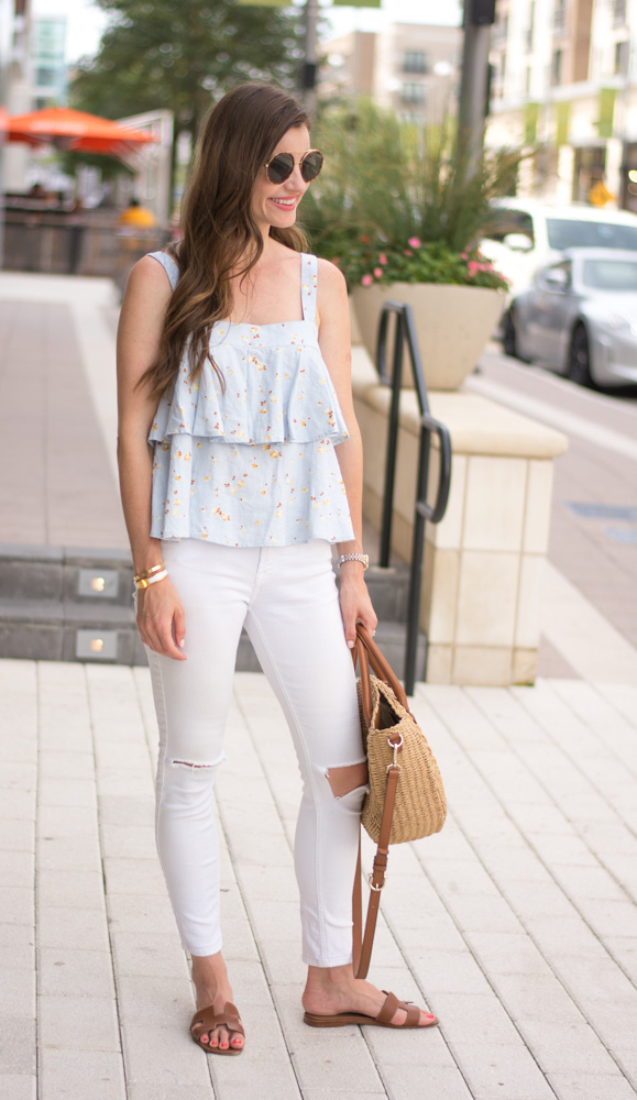 tiered top white jeans