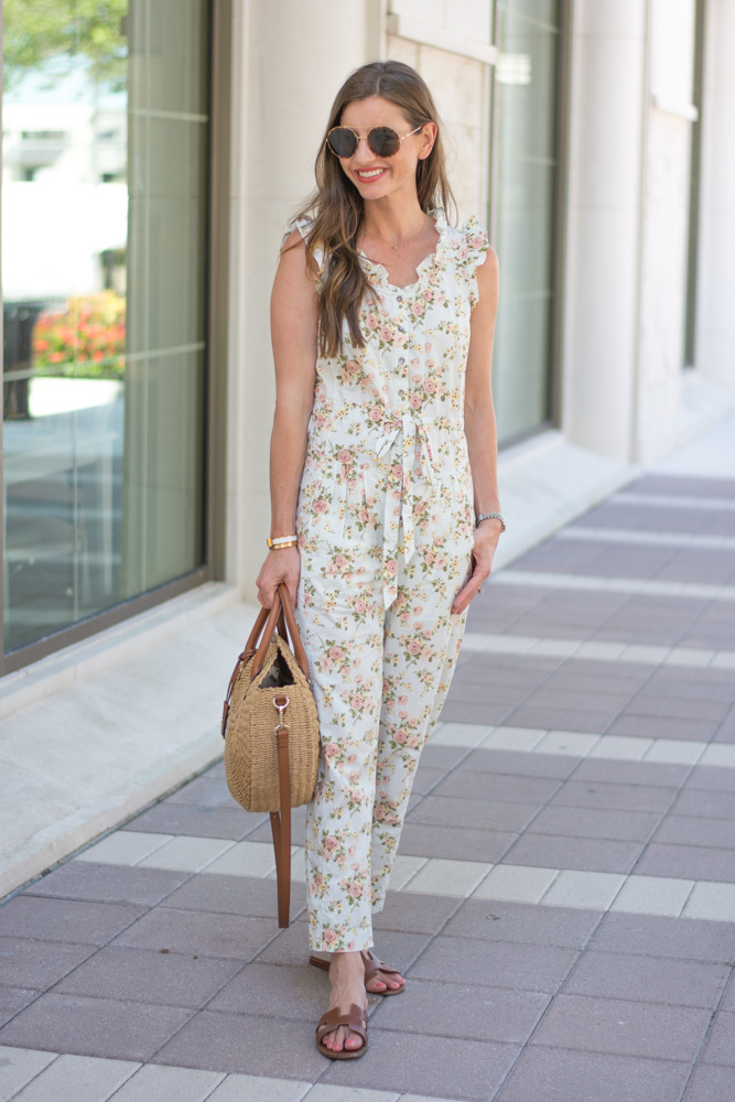 floral jumpsuit straw bag