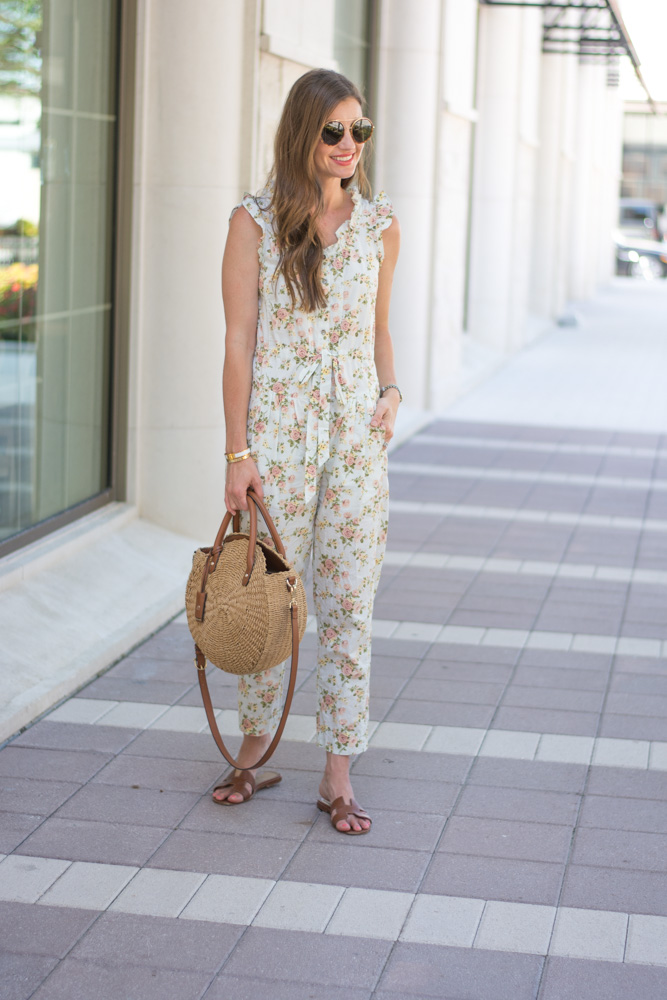 floral jumpsuit straw tote bag