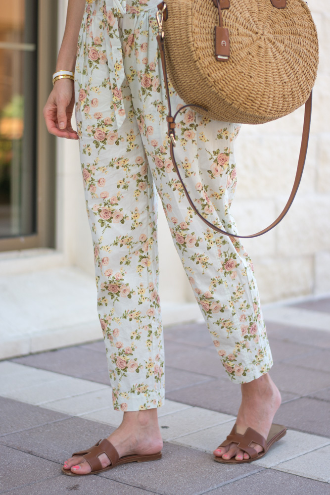 floral jumpsuit hermes sandals