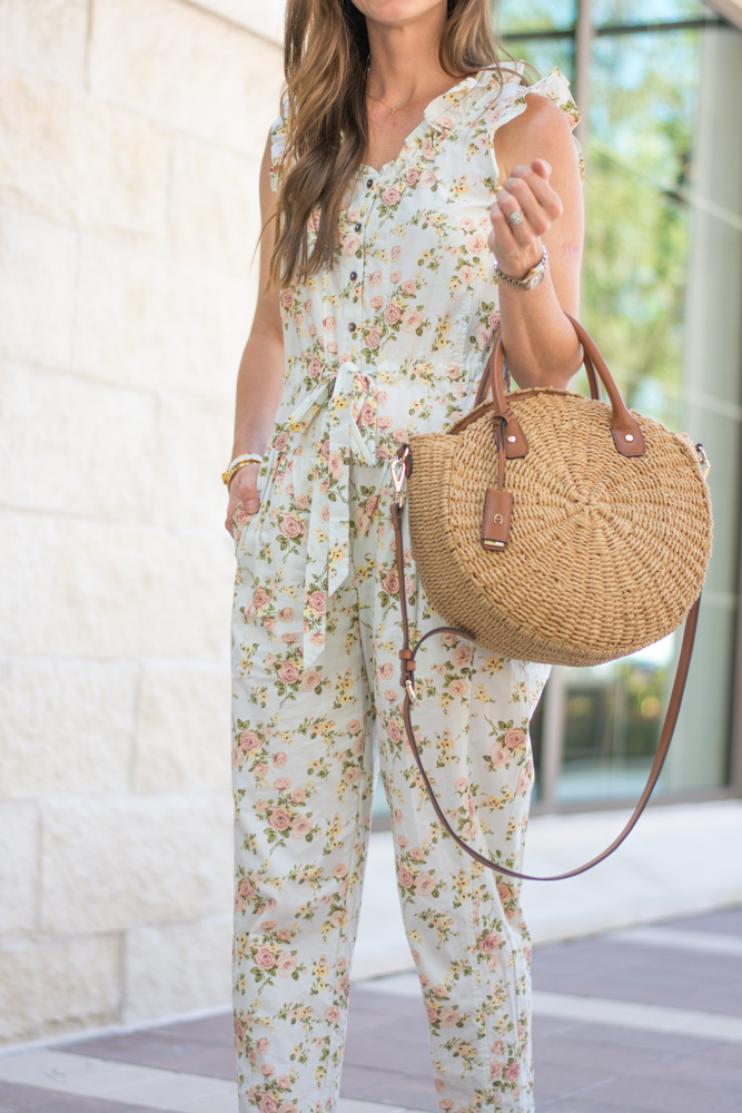 floral jumpsuit circle straw handbag