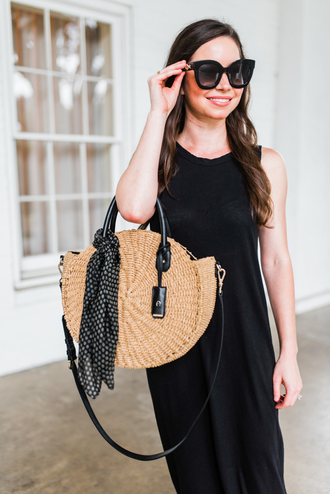 straw circle tote bag large black sunglasses